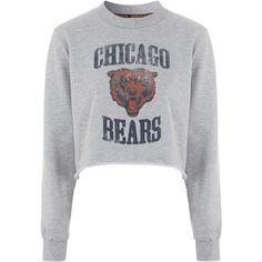 Chicago Bears Sweatshirt By Tee and Cake ($45) ❤ liked on Polyvore featuring tops, hoodies, sweatshirts, sweaters, jumpers, crop tops, shirts, grey, grey sweatshirt and bear sweatshirt