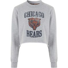 Chicago Bears Sweatshirt By Tee and Cake found on Polyvore featuring tops, hoodies, sweatshirts, sweaters, jumpers, grey, gray shirt, grey shirt, cotton sweat shirts and cotton crop top