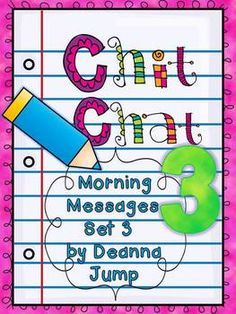 This packet is the third in a series. Many Kindergarten and First grade skills are covered in this Morning Messages unit.  Using this format for Morning Messages or Mini lessons provides your students with the opportunity to learn and practice critical skills,  develops phonics skills and provides opportunities for Developing Speaking & Listening skills.The skills covered are: Using spaces between words in sentencesUsing capitals letters correctlyUsing punctuationVerbs (Action words)Noun...