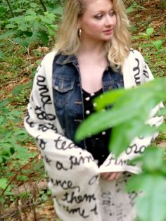 A Time for Everything Script Scarf. ia Etsy.