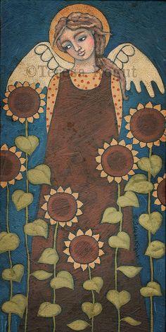 Sunflower Angel print on wood by Teresa Kogut Angel Artwork, Angel Drawing, Arte Popular, Christian Art, Whimsical Art, Religious Art, Wood Print, Ikon, Illustrations