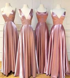 Mismatched Dusty Rose Cheap Bridesmaid Dresses Online, WG772   #bridesmaid #wedding #bridesmaiddresses #cheapbridesmaiddresses #weddingidea #longbridesmaiddresses #bridesmaidsdresses Pink Bridesmaid Dresses Long, Cheap Bridesmaid Dresses Online, Wedding Bridesmaids, Wedding Gowns, Pink Brides Maid Dresses, Party Dresses For Women, Wedding Ceremony, Prom Dresses, Formal Dresses