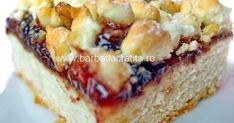 O prajitura cu gem si nuca bazata pe reteta clasica de tarta cu zmeura Linzer Torte. Romanian Desserts, French Toast, Sweet Treats, Cheesecake, Food And Drink, Cookies, Breakfast, Traditional, Sweets