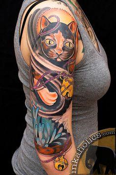 Maneki Neko Sleeve Tattoo by Brian Foster