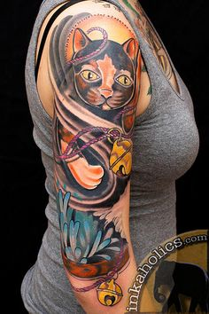 Maneki Neko Sleeve Tattoo by Brian Foster