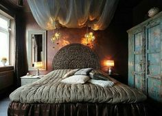 schlafzimmer design orientalisch bett gardinen beleuchtung