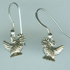 Sterling Silver HEN Earrings  French Earwires  3D Chicken