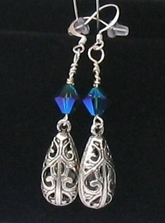 SWAROVSKI CRYSTAL AND METAL FILIGREE DANGLE EARRINGS by GirlyPossessions on Etsy