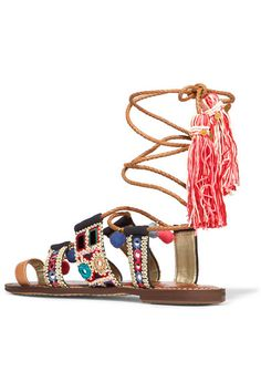 15baccb8781f Sam Edelman - Gretchen embroidered canvas and leather sandals