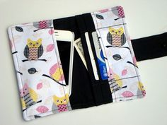 iphone 4, 4S , iphone 5 , Smart Phone Card Wallet - Cell Phone Case - Owl Chevron zig zag - Med Size READY TO SHIP