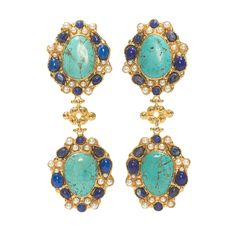 Handcrafted, hammered brass earring inlaid with turquoise, lapis and costume pearls.Available in both clip fastening & post for pierced ears. Please...