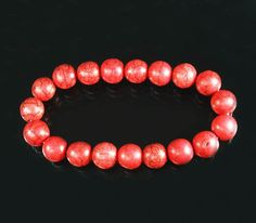 Charming HOWLITE TURQUOISE Red BALL BEADS Chain Stretch Bracelet