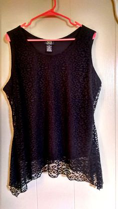 SHANNON FORD New York Womans Plus Size Top SZ 2X Black Lace Lined Stretch Blouse #ShannonFordNewYork #Tunic #Casual