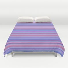Stripes pink and purple by Christine Bässler Duvet Cover