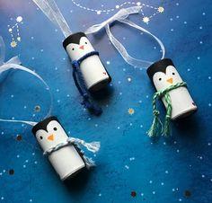 Penguin Ornaments Set of 3 Christmas Penguin ornaments Winter Penguin corkie ornaments Christmas Hol