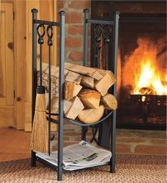 Firewood Storage Rack w Fireplace Tools Log Storage Kindling Hearth Accessories Indoor Firewood Rack, Firewood Holder, Firewood Shed, Wood Storage Rack, Wood Fuel, Storage Design, Storage Ideas, Storage Solutions, Fireplace Tools