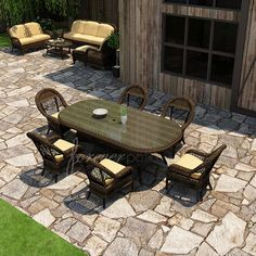 Have to have it. Forever Patio Leona 7 Piece Round Patio Dining Set - $3569 @hayneedle.com