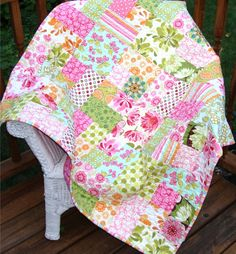 Ginger Market Scrappy Patch Baby Quilt with Sandi Henderson fabrics.  What pretty colors.