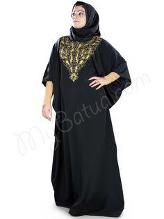508bcbcd0ef6f Elegant Black Embroidered Party Wear Iffah Kaftan