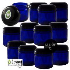 2 oz Blue Glass Jars-Set of 12                                                                                                                                                                                 More
