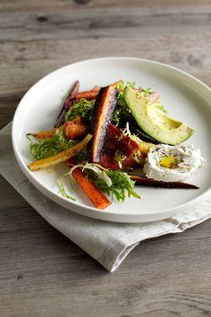za'atar roasted carrot salad with cashew labneh, avocado & frisée. Vegan Raw