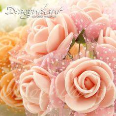 Kopf Multi Color Schaumstoff Mini Flower Bouquet Mit Organza Einfarbig Künstliche Rose Für Hochzeit Dekoration