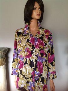 Tunic Shirt Women Plus Size 2X Sarah Bentley Floral Designer Fashion    eBay