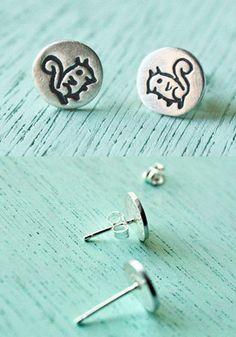 Silver Squirrel Stud Earrings by Susie Ghahremani / boygirlparty.com