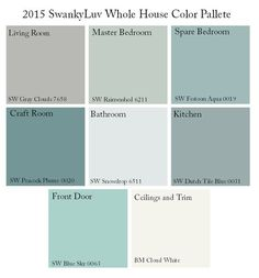 Whole House Color Palette. Whole House Color Palette. Whole House Color Palette. Whole House Color Palette Via SwankyLuv. Interior Paint Colors, Paint Colors For Home, Interior Design, Paint Colours, Coastal Paint Colors, Wall Colors, House Color Schemes Interior, Cottage Paint Colors, Soothing Paint Colors