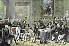 The Congress of Vienna met in 1814–15. The objective of the Congress was to settle the many issues arising from the French Revolutionary Wars, the Napoleonic Wars, and the dissolution of the Holy Roman Empire.