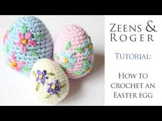 How to Crochet a Decorative Easter Egg. A Zeens and Roger Tutorial. Learn how to crochet an amigurumi Easter egg in my first ever video tutorial! Also learn how to add pretty embroidered flowers (the time stamp for the embroidery is . Easter Egg Pattern, Easter Crochet Patterns, Crochet Patterns Amigurumi, Crochet Yarn, Easter Egg Crafts, Easter Eggs, Applique Tutorial, Tutorial Crochet, Crochet Tutorials