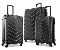 American Tourister Arrow Hardside Luggage Set American Tourister Arrow by Samsonite is an imported, lightweight and sturdy, hardshell expandable luggage set of a carry-on, medium and large suitcases with.