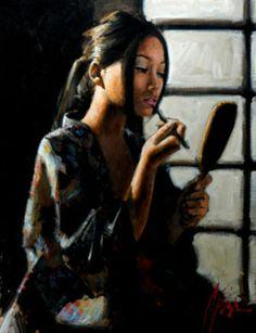 Fabian Perez: Geisha with Mirror