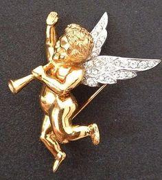 Extremely-Rare-Collectable-Angel-Cherub-Cupid-Rhinestone-Marcel-Boucher-Ciro-Pin