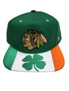 CHICAGO BLACKHAWKS CLOVER SNAPBACK HAT. St Patricks Day ... 65c12caf4