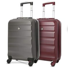 """Travel Luggage Set of 2 ABS Hard Shell Cabin Suitcase Wheels 21"""" Wine/Charcoal #TravelLuggageSet"""