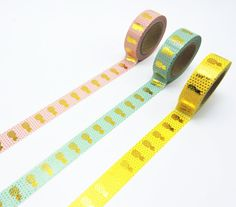 ♥ Listing is for: set of 3x rolls gold foil pineapple washi tapes.  ♥ Colors: gold&pink, gold&mint, gold&yellow.  ♥ Each roll measures approximately: 1.5cm width * 10m length.  This set is absolutely S T U N N I N G ! ♥ Perfect for scrapbooking, arts & crafts, packaging, and paper products.  DIY and dress up jars and bottles for weddings, dress up your work space, organize your stationery, Use it to gift wrap, decorate your planner or journal- Theres endless possibilities!  S...