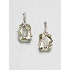 David Yurman Prasiolite & Diamonds Drop Earrings