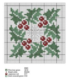 Winter and Christmas: holly with berries cross stitch chart
