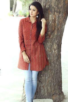 #cotton #blockprint #red #buttondown #tunic #shirt #casual #chic #comfortable #women #fashion #wardrobe #summer #Fabindia