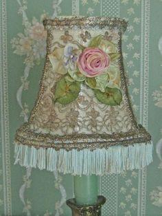 Repurposed Vintage Blue Lamp Shade Antique by KISoriginals on Etsy, $59.00