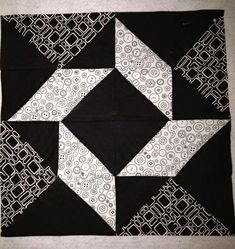 You have to see Feb BOM (Block on Craftsy! - Looking for quilting project inspiration? Check out Feb BOM (Block by member Sewpippy.Balkan Puzzle quilt block - need to resize for tabletopper!Balkan Puzzle quilt block- this would be good with the black, whi Quilt Block Patterns, Pattern Blocks, Quilt Blocks, Half Square Triangle Quilts, Square Quilt, Quilting Projects, Quilting Designs, Quilting Ideas, Puzzle Quilt