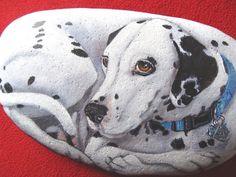 Custom Pet Portrait - 8-9 in. Stone -Original Hand Painted Rocks by Shelli Bowler via Etsy