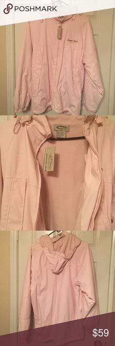 NWT Denali Alaska women's coat pink SZ XL Beautiful light pink jacket with the zipper front and two front zipper pockets.  Also, one inside pocket and removable hat.  100 % Polyvinyl and machine wash cold with like colors, tumble dry low. San Franciso Fleecewear Co Jackets & Coats
