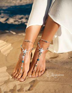 74ea3b7ec8af4d Beach wedding barefoot sandals Bridal foot jewelry Rhinestone starfish barefoot  sandals Barefoot Sandals Bridal shoes Footless sandals Blue