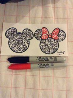 I❤️Disney por eso hice un dibujo de Mickey y Minnie con mandalas #loveart
