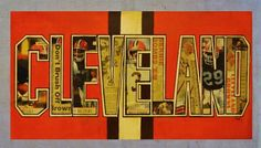 Cleveland Browns Print.~ [old sport sections from the plain dealer are used for the letters].