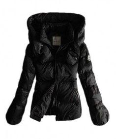 Moncler Winter Jackets Women Pure Color Black Double Collar