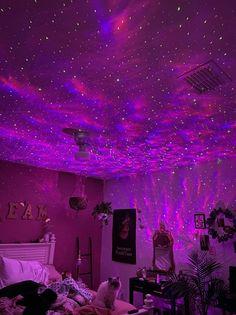 Neon Bedroom, Room Design Bedroom, Room Ideas Bedroom, Galaxy Bedroom Ideas, Neon Lights Bedroom, Lights For Room, Bedroom Inspo, Room Lights Decor, Night Bedroom