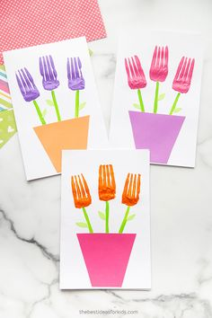 Fork Painted Flowers Card Mothers Day Crafts For Kids, Crafts For Kids To Make, Art For Kids, Toddler Crafts, Preschool Crafts, Arts And Crafts, Diy Crafts, Mother And Father, Fathers Day